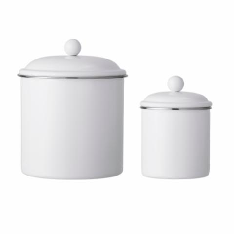 Karina Jar w/Lid, White, Metal