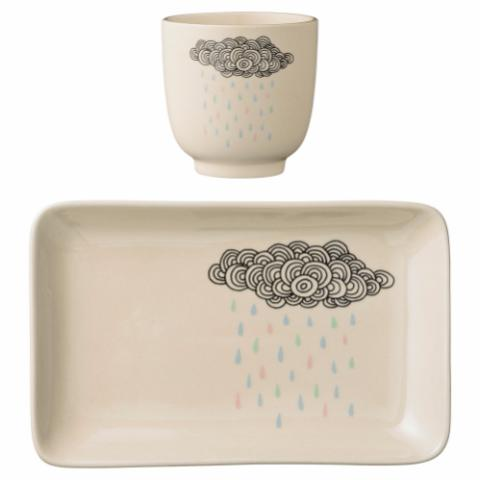 Adel Cup & Plate, White, Stoneware