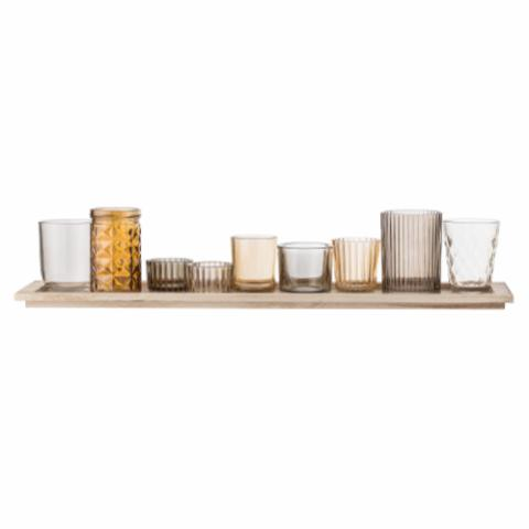 Sanga Tray w/Votive, Brown, Glass