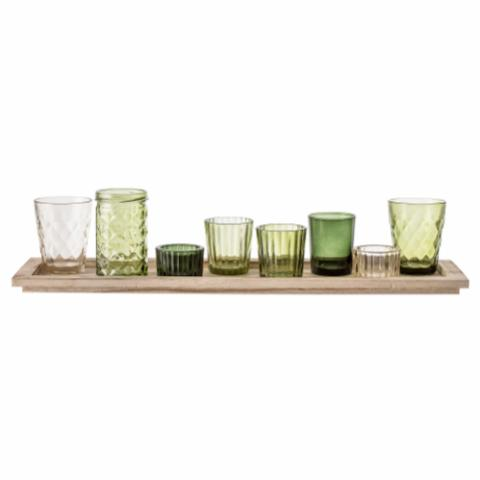 Sanga Tray w/Votive, Green, Glass