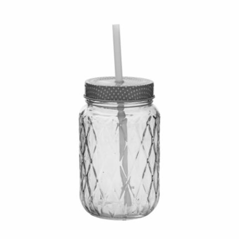 Donna Bottle w/Lid & Straw, Clear, Glass