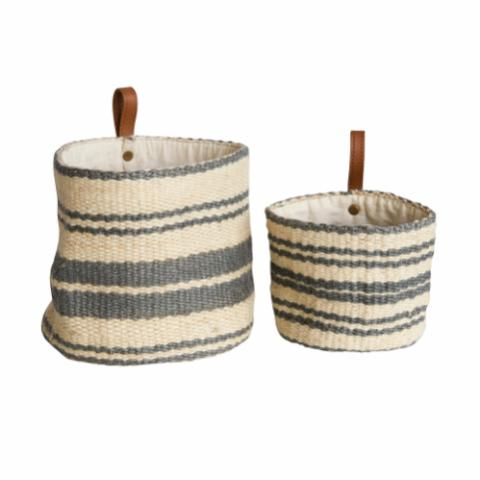 Landry Wall Basket, Grey, Jute