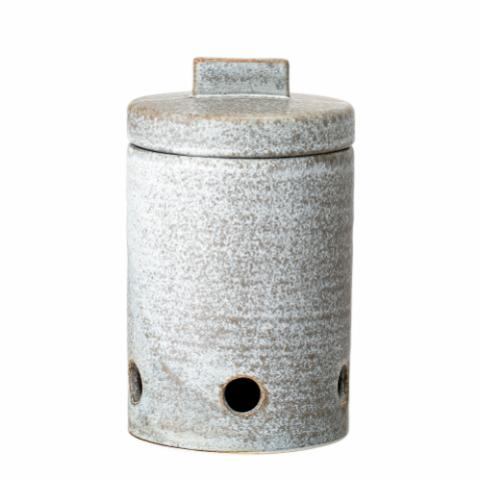 Kendra Garlic Jar, Grey, Stoneware