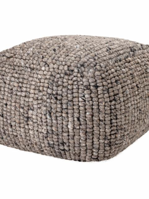 Boston Pouf, Grey, Wool