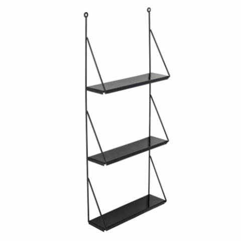 Walter Shelf, Black, Metal