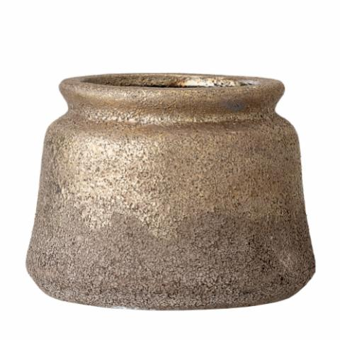 Matty Deco Flowerpot, Gold, Terracotta