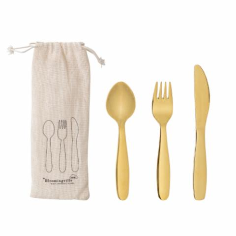 Ally Cutlery, Gold, Stainless Steel