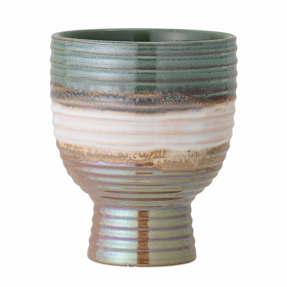Jennifer Flowerpot, Green, Stoneware