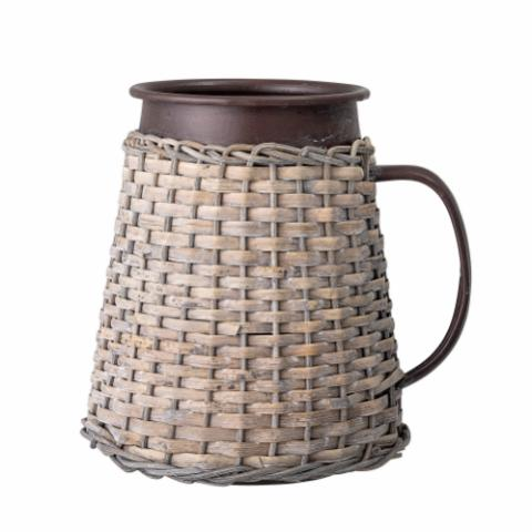 Deco Vase, Brown, Metal