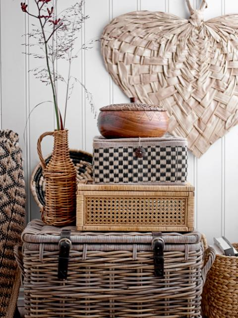 Lally Box w/Lid, Nature, Rattan