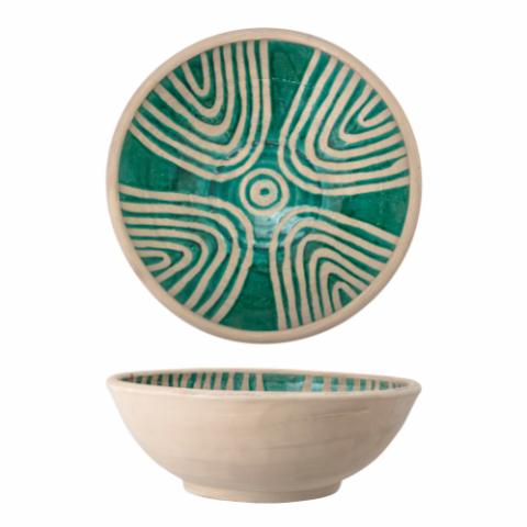Alban Deco Bowl, Green, Terracotta