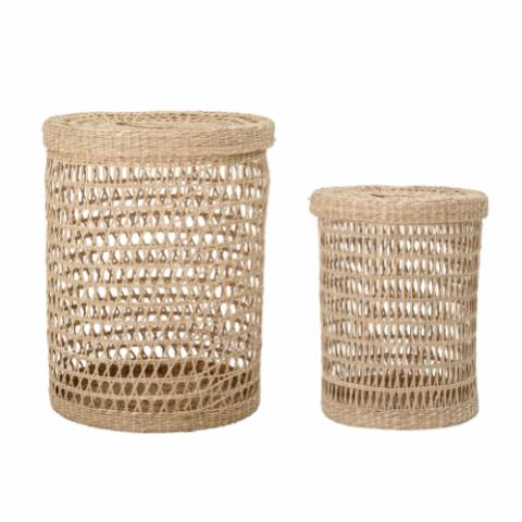 Connie Basket w/Lid, Nature, Seagrass