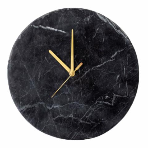 Jamin Wall Clock, Black, Marble