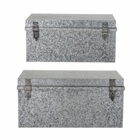 Dian Storage Box w/Lid, Grey, Galvanized Iron
