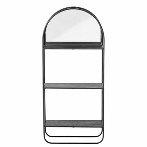Hoang Mirror w/Shelf, Black, Metal