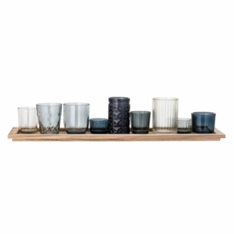Sanga Tray w/Votive, Blue, Glass