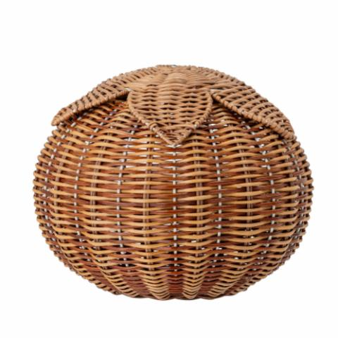 Hea Basket w/Lid, Brown, Rattan