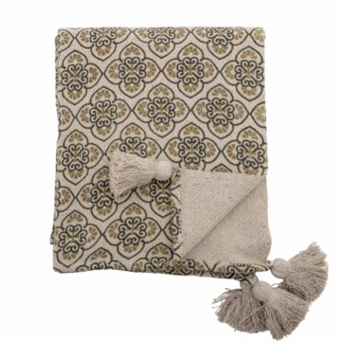 Cila Throw, Green, Recycled Cotton