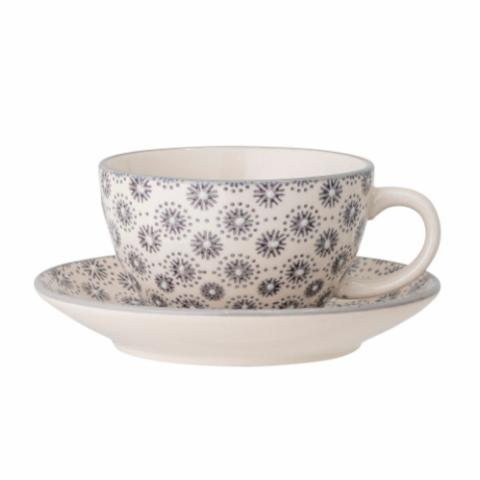 Elsa Cup w/Saucer, Grey, Stoneware