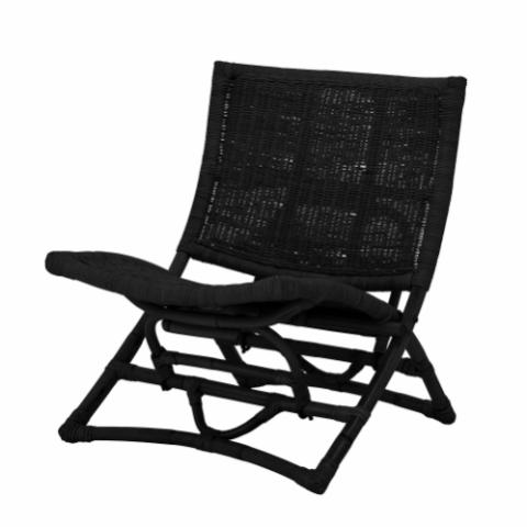 Baz Lounge Chair, Black, Rattan