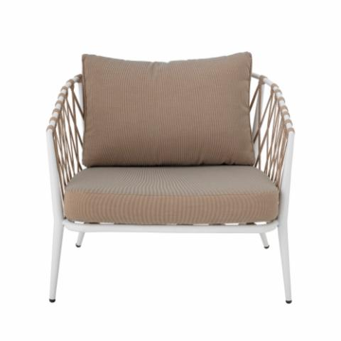 Cia Lounge Chair, White, Metal
