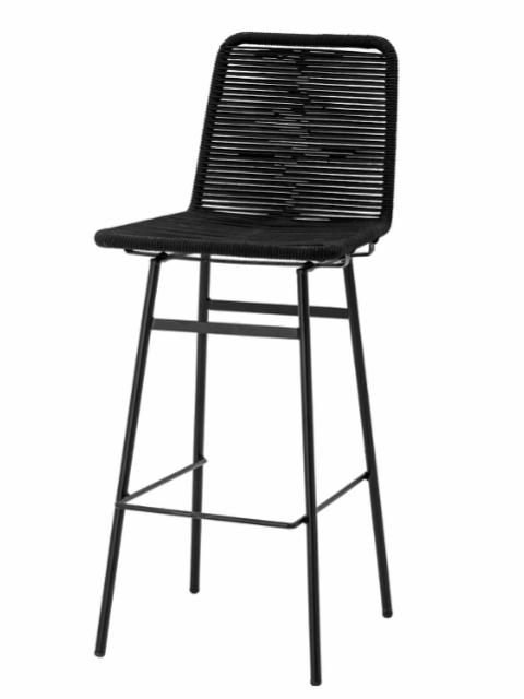 Mundo Bar Stool, Black, Metal