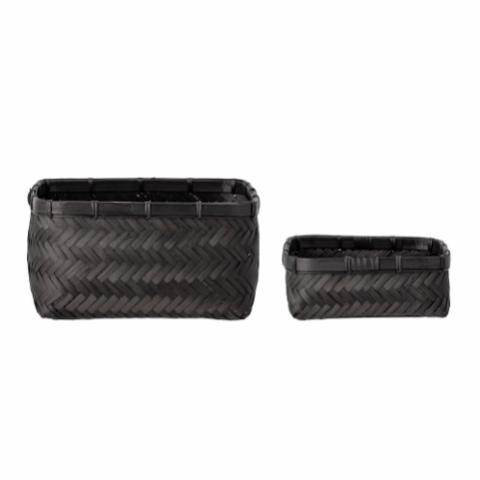 Donia Basket, Bamboo, Black