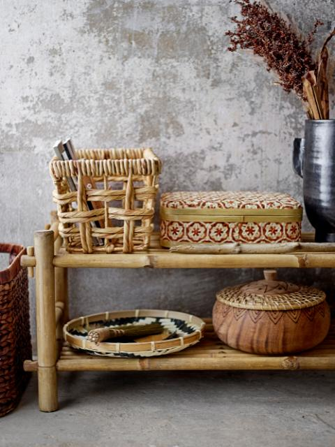 Dy Basket w/Lid, Red, Bamboo