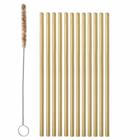 Mendi Straw & Brush, Gold, Stainless Steel