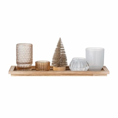Otine Tray w/Votive, Gold, Glass