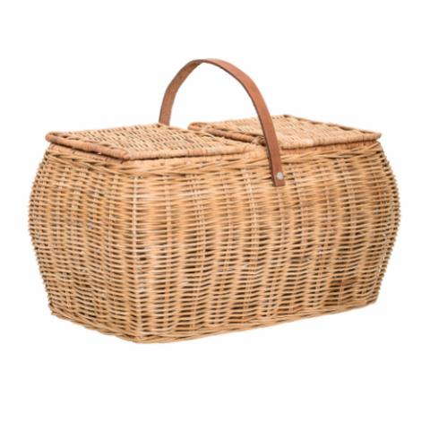 Basket w/Lid, Nature, Rattan