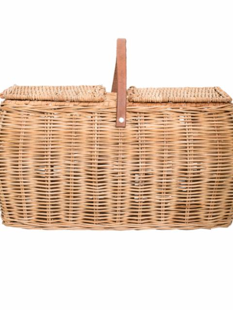 Gor Basket w/Lid, Nature, Rattan